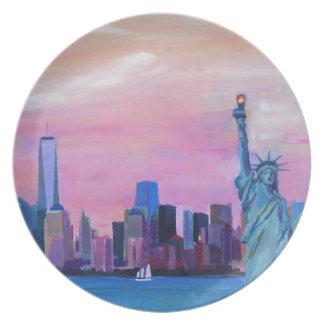 Manhattan Skyline with Statue of Liberty Melamine Plate