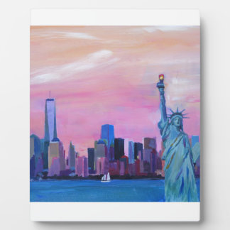 Manhattan Skyline with Statue of Liberty Plaque