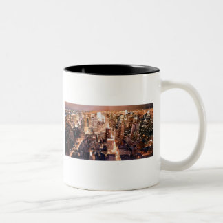 """Manhattan Tapestry"" New York Art Two-Tone Coffee Mug"