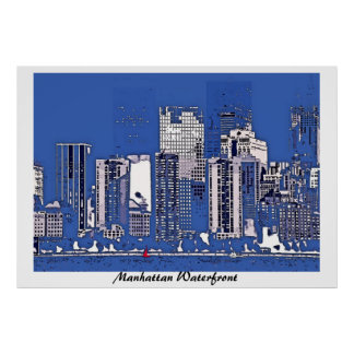Manhattan Waterfront, contemporary poster