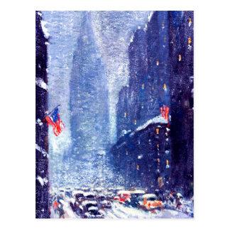 Manhattan Winter Scene.Fine Art Christmas Postcard