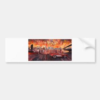 Manhattan with two bridges and Oldtimer Bumper Sticker