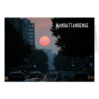 Manhattanhenge: setting pinkish orange sun card