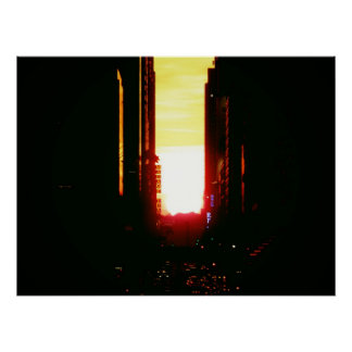 Manhattanhenge Sunset Down 42nd Street, Medium Poster