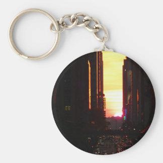 Manhattanhenge Sunset New York City Key Chain