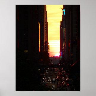 Manhattanhenge Sunset New York City, Medium Print