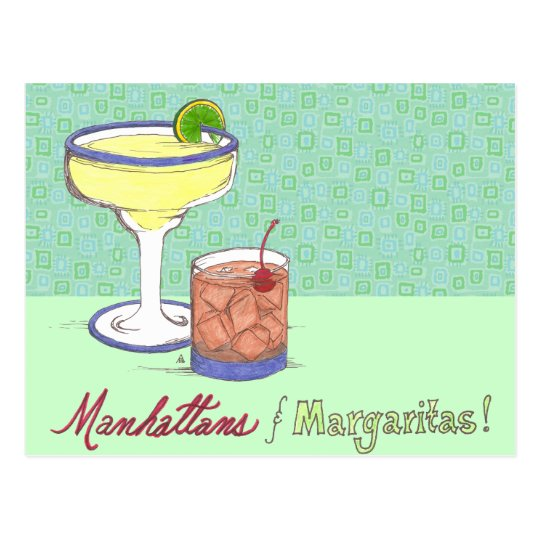 Manhattans & Margaritas | Customizable Postcard