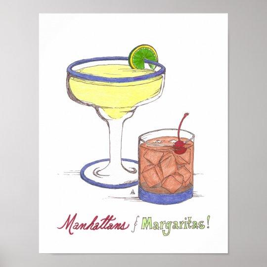 Manhattans & Margaritas   Customizable Poster