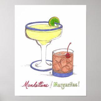 Manhattans y personalizable de los Margaritas el | Póster
