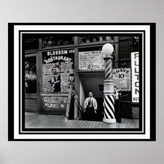 Manhatten Barber Shop Restaurant Poster 16 x 20