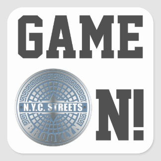 Manhole Cover Brooklyn Blue Square Sticker