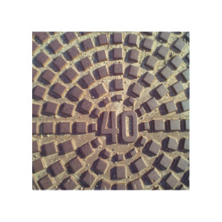 Manhole cover number 40 wood wall art