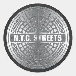 Manhole Covers Queens Classic Round Sticker