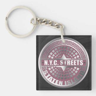 Manhole Covers Staten Island Square Acrylic Key Chains