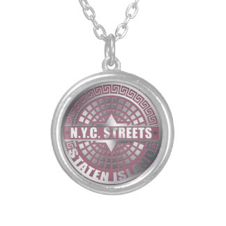 Manhole Covers Staten Island Round Pendant Necklace