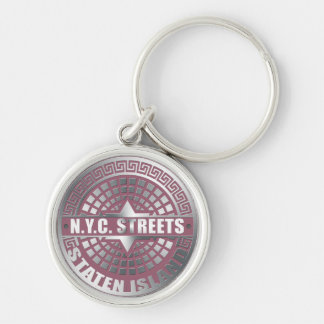 Manhole Covers Staten Island Silver-Colored Round Keychain