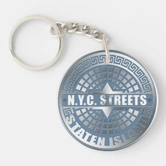 Manhole Staten Island Blue Acrylic Key Chain