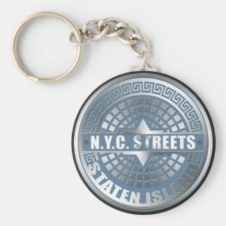 Manhole Staten Island Blue Key Chain