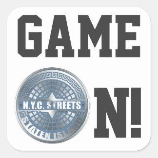 Manhole Staten Island Blue Square Sticker