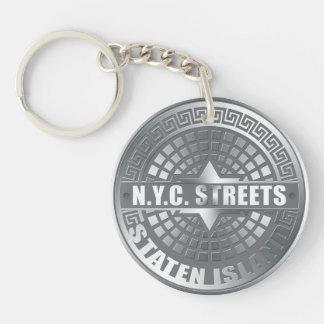 Manhole Staten Island Gray Acrylic Keychain