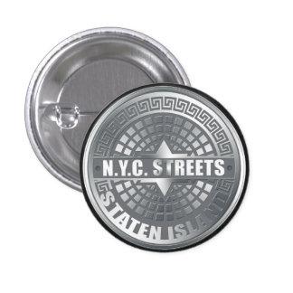 Manhole Staten Island Gray Button
