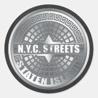 Manhole Staten Island Gray Classic Round Sticker