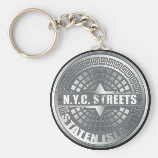 Manhole Staten Island Gray Key Chain