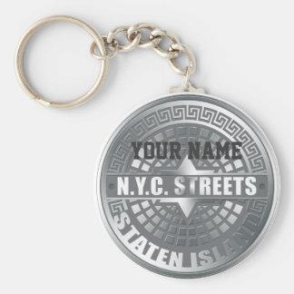 Manhole Staten Island Gray Key Chains