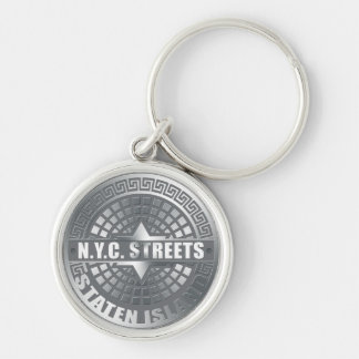 Manhole Staten Island Gray Silver-Colored Round Keychain