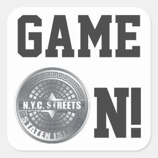 Manhole Staten Island Gray Square Sticker