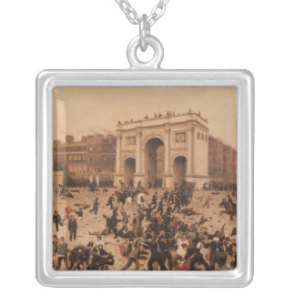 Manhood Suffrage Riots in Hyde Park, 1866 Square Pendant Necklace
