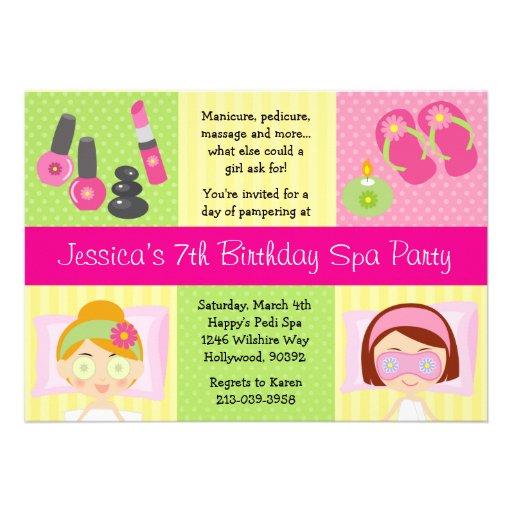 Personalized Mani pedi Invitations – Girls Spa Birthday Party Invitations