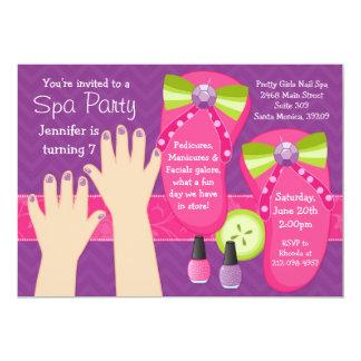 """Mani Pedi Spa Birthday Party Invitation 5"""" X 7"""" Invitation Card"""