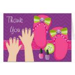 Mani Pedi Spa Birthday Party Thank You Card