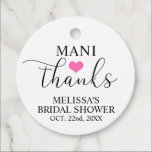 """MANI Thanks Bridal Baby Shower Nail Polish Favor Tags<br><div class=""""desc"""">Lovely favor tags with MANI THANKS (manicure) to add with your nail polish bottle favors.  Small hot pink heart in middle. All your women guests will love these.  Great for bridal or baby showers (even birthday favors!).  Different colors available.</div>"""