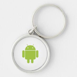 Manía androide llavero redondo plateado