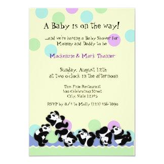 """Manía de la panda del bebé invitación 5"""" x 7"""""""