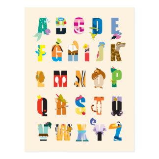 Manía del alfabeto de Disney Tarjetas Postales