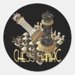 Maniaco del ajedrez pegatinas redondas