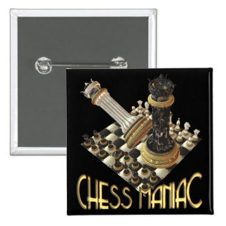 Maniaco del ajedrez pin cuadrada 5 cm