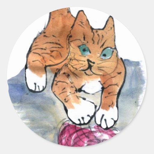 Maniaco del hilado - gatito salvaje CONTRA el Pegatinas Redondas
