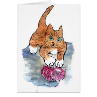Maniaco del hilado - gatito salvaje CONTRA el Tarjeta De Felicitación