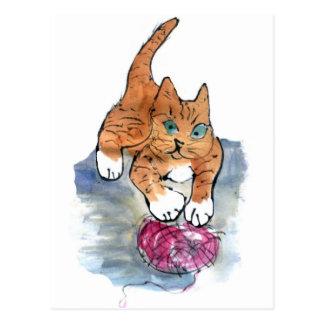 Maniaco del hilado - gatito salvaje CONTRA el Tarjeta Postal