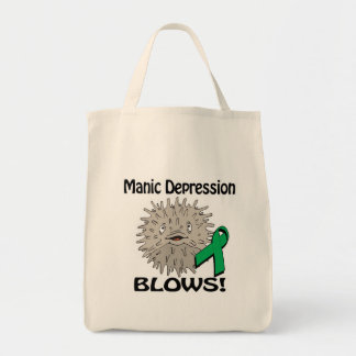 Manic Depression Blows Awareness Design Grocery Tote Bag