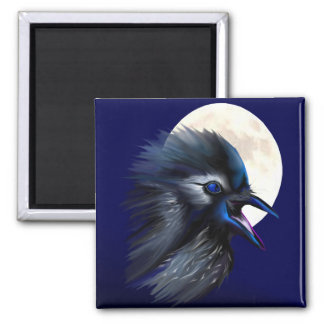 Manic Raven with Moon  Magnet