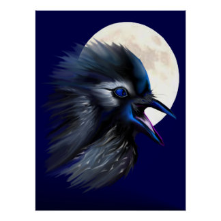 Manic Raven with Moon Poster