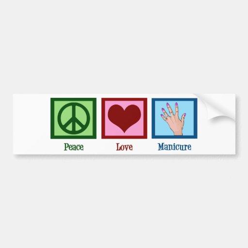 Manicura del amor de la paz pegatina para auto