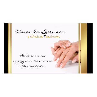 Manicure Black & Gold Border White Business Card