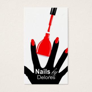MANICURE PEDICURE Nail Salon red Business Card