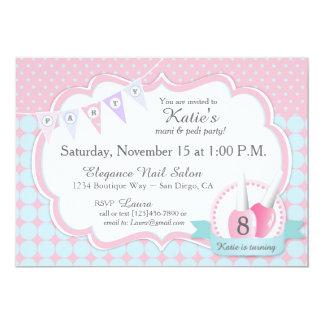 """Manicure & Pedicure Spa Party Birthday Invitation 5"""" X 7"""" Invitation Card"""